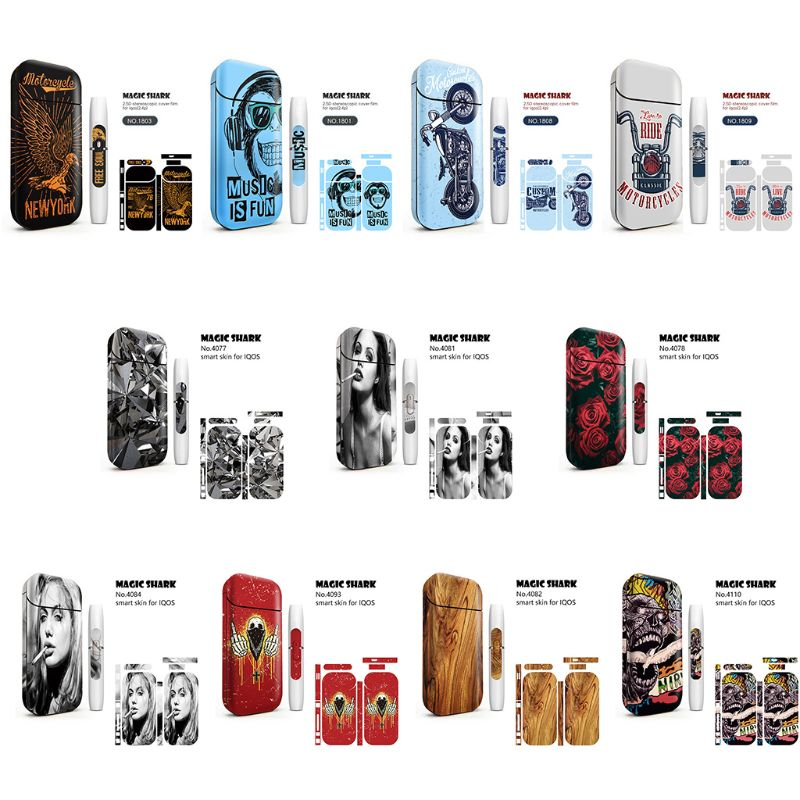 11 Styles Fashion Magic Shark Bumpy <font><b>Sticker</b></font> Printing <font><b>Sticker</b></font> Skin for <font><b>IQOS</b></font> Box Protective Cover Case only <font><b>Stickers</b></font> image
