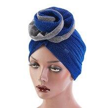 חדש יוקרה נשים המוסלמי בהיר shinny טורבן Hijabs גדול פרח אלסטי בד ראש כובע גבירותיי מסיבת חתונת אבזרים לשיער