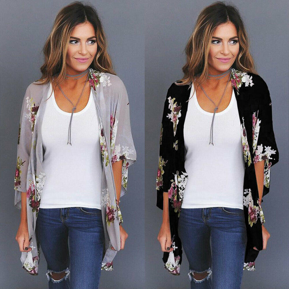 Plus Size Women Holiday Lace Loose Floral Print Coat Tops Lady Floral Kimono Cardigan Ladies Summer Tops Jacket S-XXXL