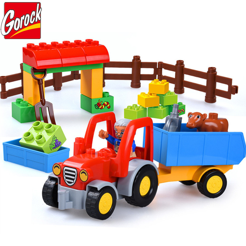 Happy Farm Large Building Blocks Sets Friends Figures Animal DIY Baseplate LegoINGLs Duplo Bricks Educational Toys For Children