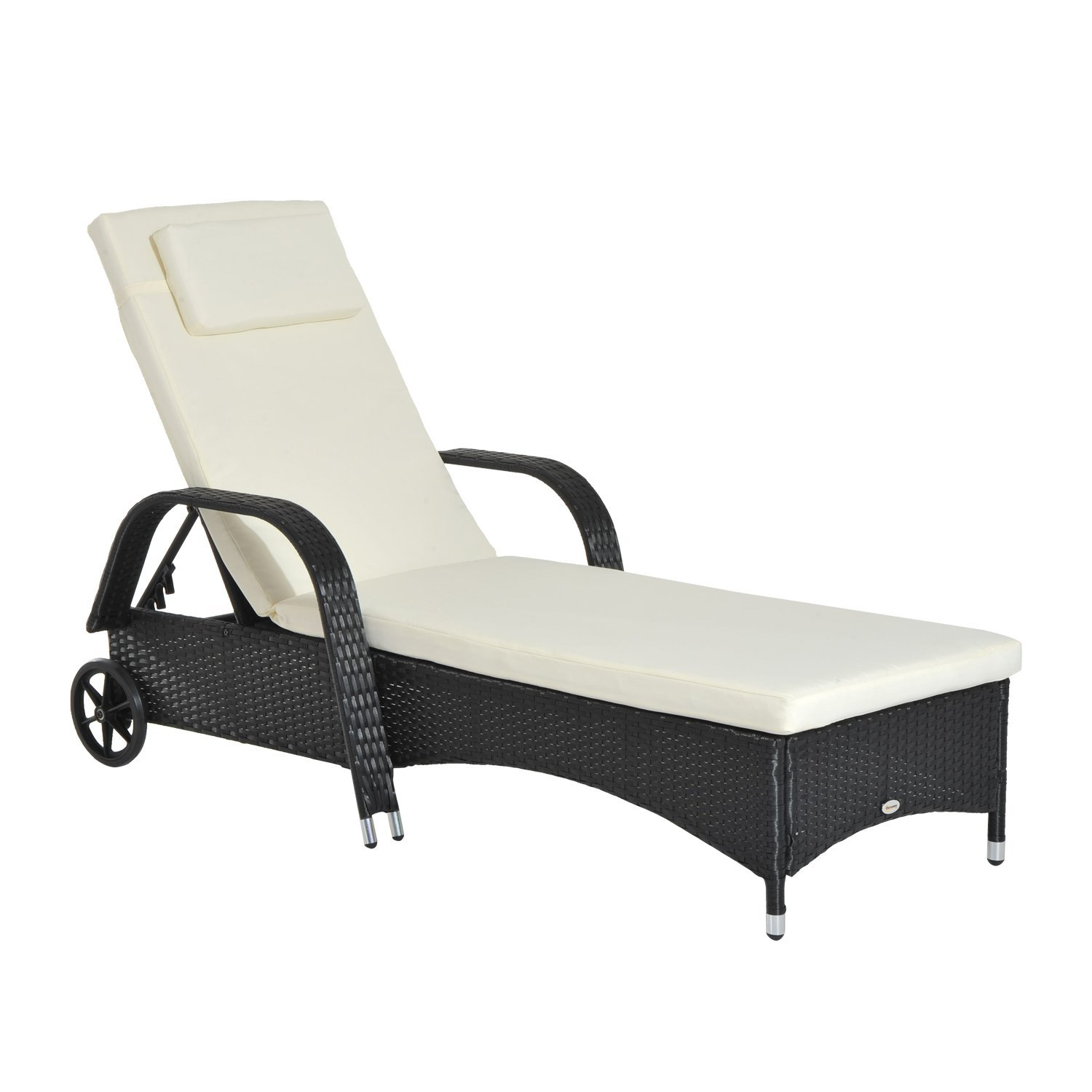 Outsunny Deck Chair Lounger Sun Height Adjustable With Wheels With Ruotete Rattan Garden