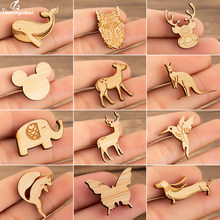 Shuangshuo Femme Wooden Brooches Elegant Mickey Deer Brooches Cute Cartoon Animal Elephant Enamel Pins Badges for Clothing Hat(China)