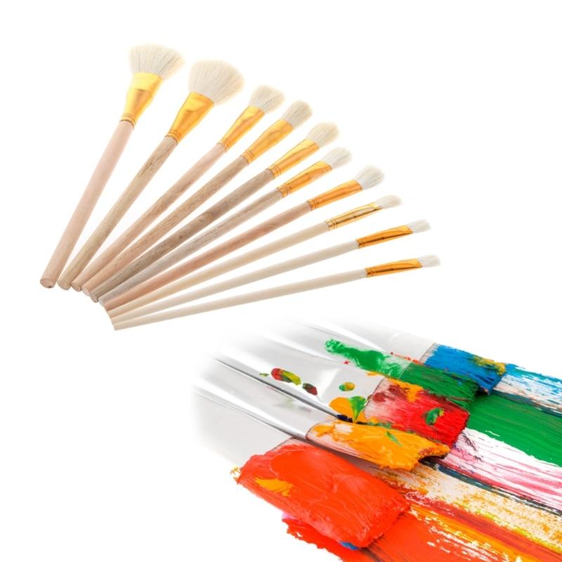 10pcs Artist Paint Brushes Sets White Tip Oil Watercolor Brush Art Craft Model