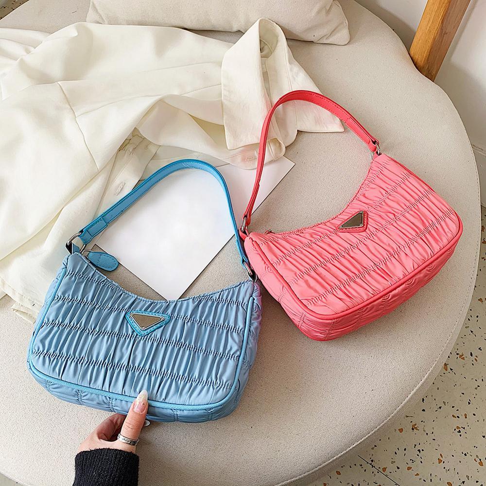 Nylon Women Simple Handbag Retro Evening Clutch Pleated Pure Color Shoulder Bag Female Evening Clutch Shopping Tote Purses