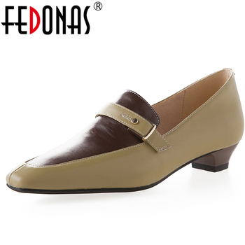 FEDONAS Euro Style Retro Concise Mature Concise Women Mixed Colors Cow Leather Pumps Casual Office Low Heel Slip-On Shoes Woman