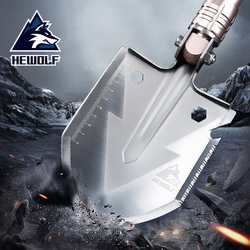 Male wolf outdoor military shovel multifunctional spade camping equipment field supplies folding mountain cutting