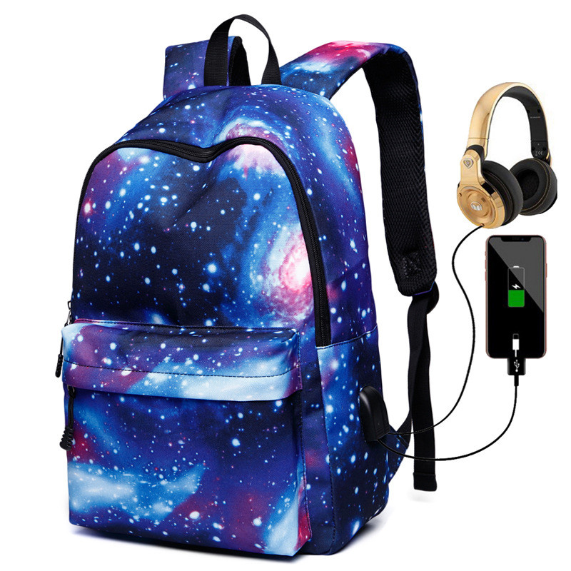 USB Charging School Bag Multicolor Backpack Space Printing Backpacks For Teenager Men Women Starry Sky Backpack Mochila Mujer
