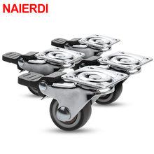 NAIERDI-ruedas giratorias de goma suave TPR, ruedas de alta resistencia con freno para muebles, carro de plataforma, 4 Uds.