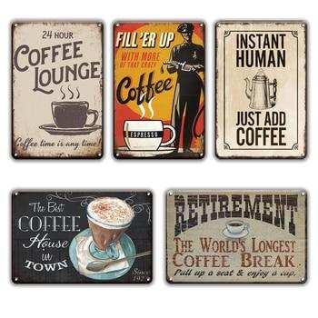 Hot Coffee Plaque Metal Vintage Tin Sign Kitchen Restaurant Home Decor Retro Cafe Wall Art Decoration Maison