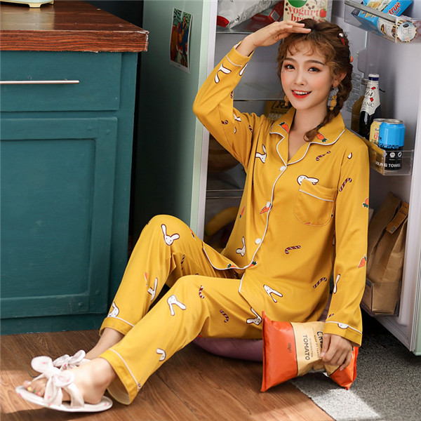 JULY'S SONG 2020 New Spring 2 Pieces Pajamas Women New Printed Colorful Sleepwear Long Sleeve Pajamas Set Female Sleep Homewear