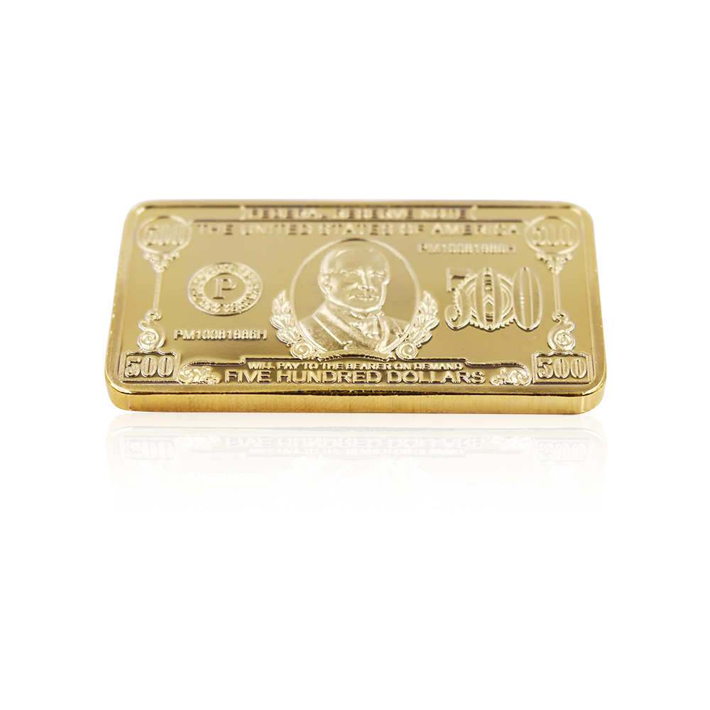 500 Dollar 24k Gold Bar 999.9 Gold Plated Metal Bars Metal Crafts Collections
