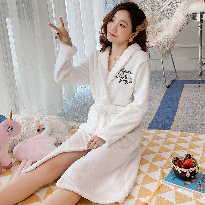 -Simple White Bathrobe Autumn And Winter Flannel Pajamas Women's Coral Velvet Night-robe Thick Mid-length Women's Bathrobe