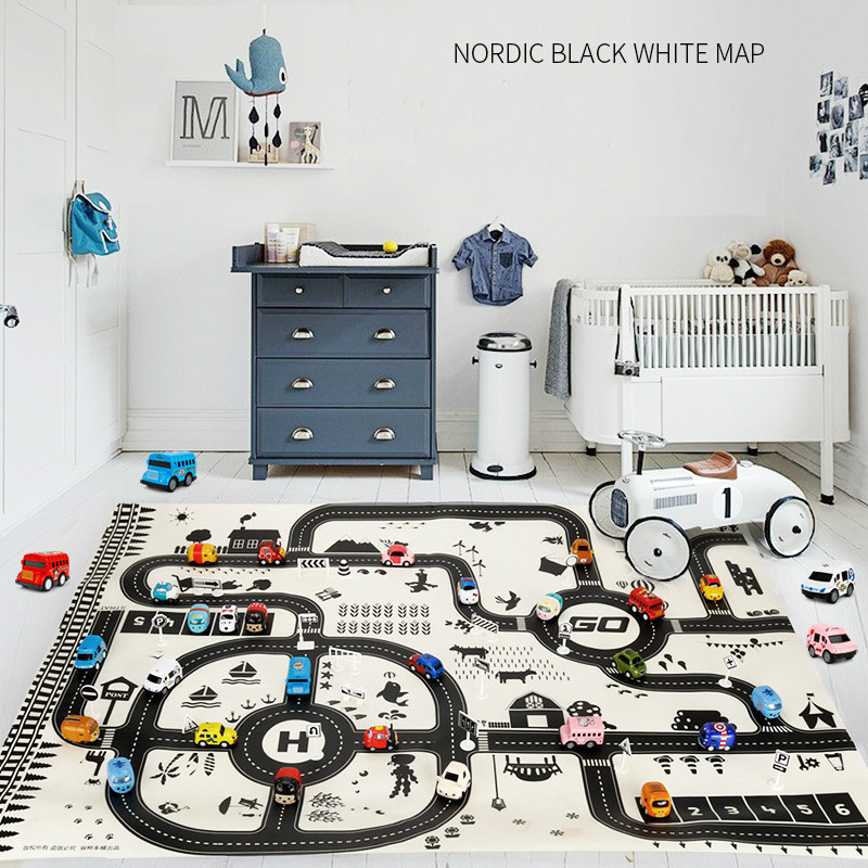Kid Play Mat City Scene Traffic Highway Map Educational Toy Pull Back Truck Mini Vehicle For Children Toddler Climb Game Carpet