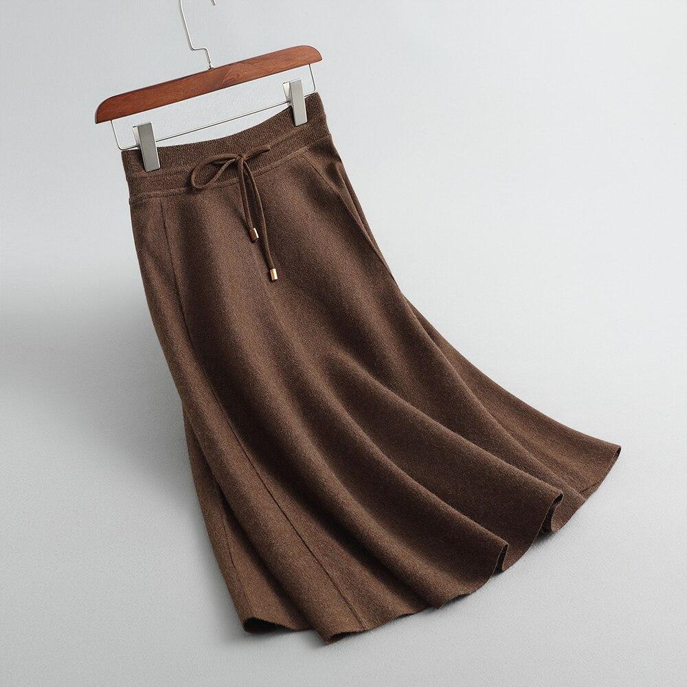 Jupe Faldas Stop118 กระโปรงยาวยืดผู้หญิงฤดูใบไม้ร่วงกระโปรง