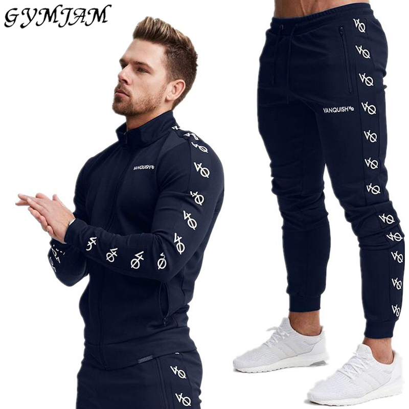 Cotton Men's Sportswear Casual Outdoor Streetwear Men's Clothing Jogger Fashion Fitness Jacket Trousers