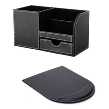 1 Set PU Leather Multi-Function Desk Stationery Organizer Storage Box Pen, Phone, Business Name Cards Holder + Mouse Pad