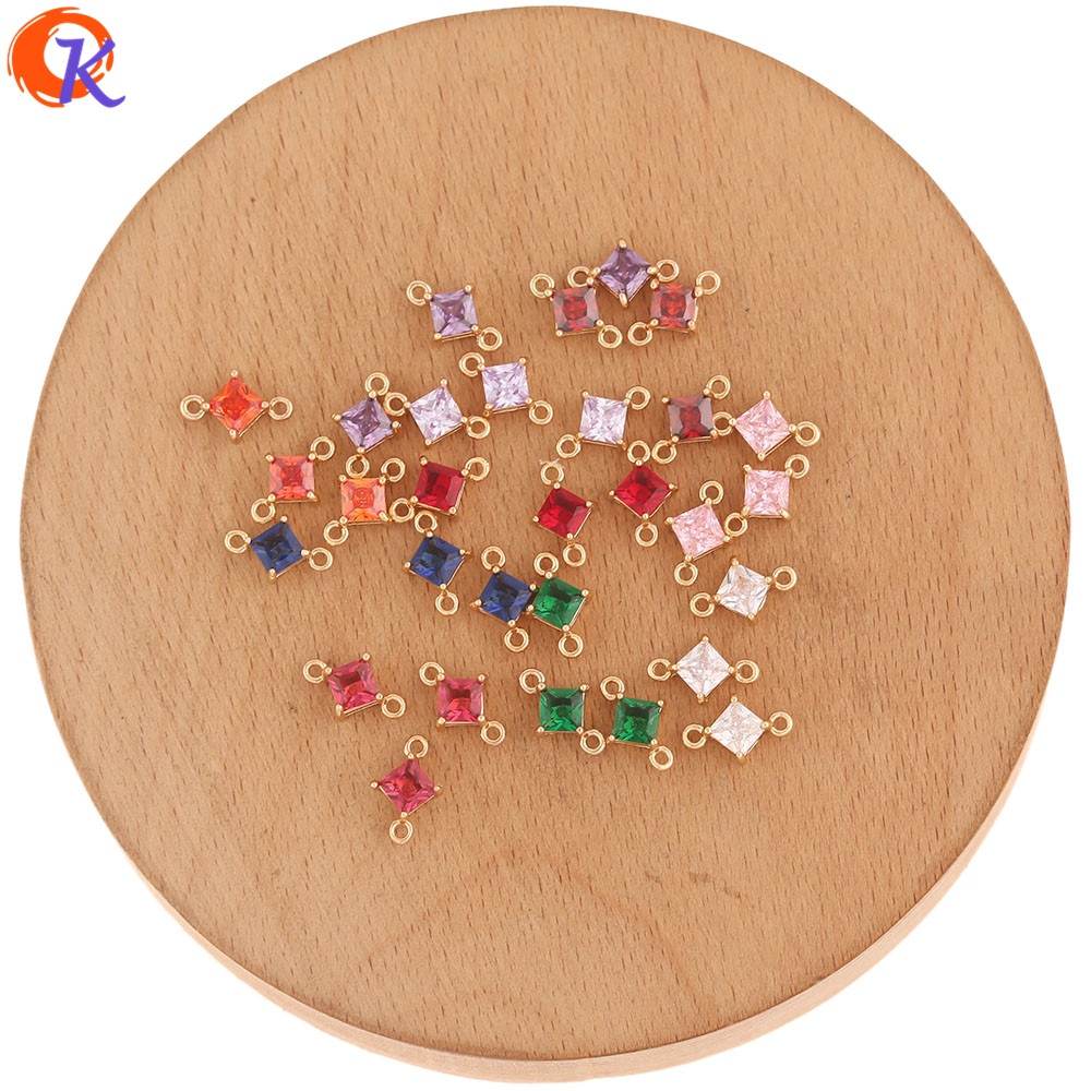 Cordial Design 100Pcs 7*11MM Jewelry Accessories/Hand Made/Crystal Earrings Connectors/Sqaure Shape/DIY Making/Earring Findings
