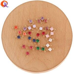 Image 1 - Hartelijke Ontwerp 100Pcs 7*11Mm Sieraden Accessoires/Hand Gemaakt/Crystal Oorbellen Connectoren/Sqaure Vorm/Diy Maken/Earring Bevindingen