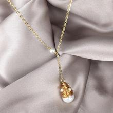 Golden Chain Women Freshwater Pearl Necklace Bijoux Femme Handmade Jewelry Colliers Femmes 2019 New Pendant Colgante Mujer Moda