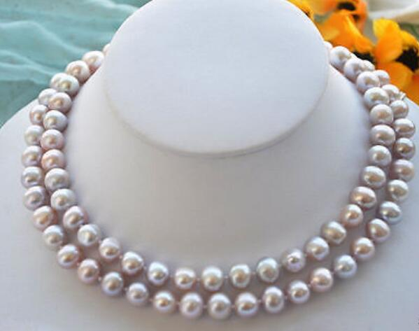 """Charming 7-8MM Black Akoya Cultured Pearl Baroque Necklace 18"""" AAA"""