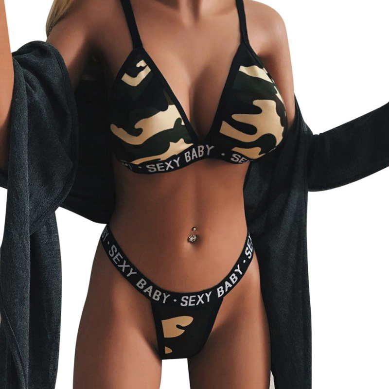 JODIMITTY 2020 New Women Sport Bra Sets Camouflage Letter Print Lingerie Set Push Up Corset Bralette Summer Thong Bikini Set