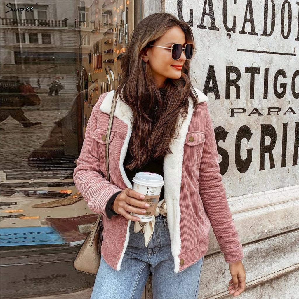 Simplee Corduroy winter jacket coat women Long sleeve casual lambswool Jackets Warm   parka   female outwear coat 2019