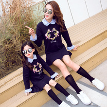 Autumn and winter dress mom daughter big sister little shirt baby matching clothes mutter tochter outfits to be