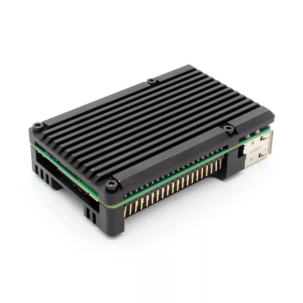 Latest CNC Aluminum Alloy Case Shell Enclosure Cooling Fan Heat Sink For Raspberry Pi 4