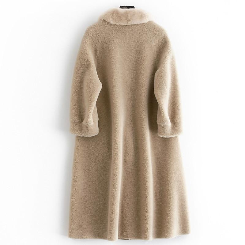 Real Fur Coat Sheep Shearing Long Coats 2020 Winter Coat Women Wool Jacket Tops Outwear Female Warm Parka Hot Sale L2422