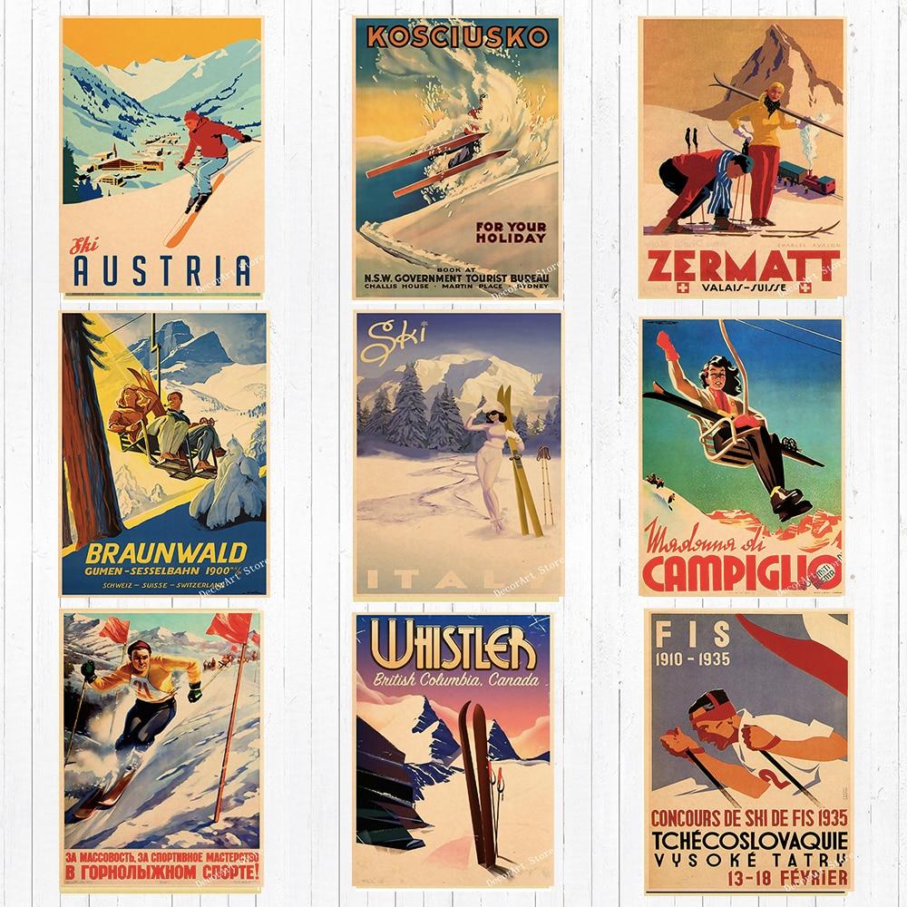 Retro esqui na américa pintura da lona de esqui da parede do vintage kraft cartazes revestidos adesivos de parede decoração para casa fotos presente