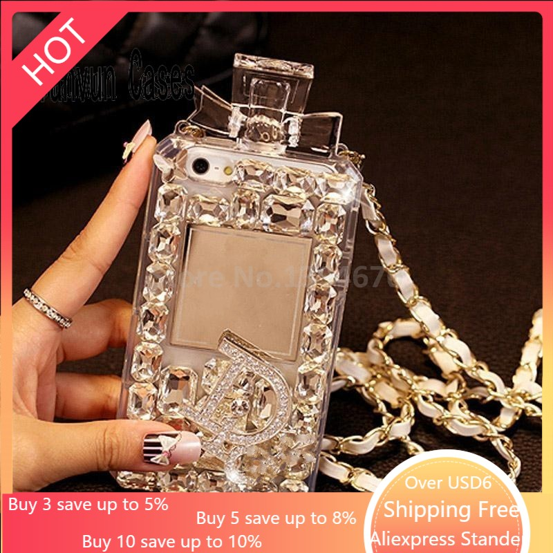 White Luxury Bling Crystal Diamond Lanyard Chain TPU For iphone 11 pro max X Xr Xs Xsmax 6 6S 7 8 Plus phone case