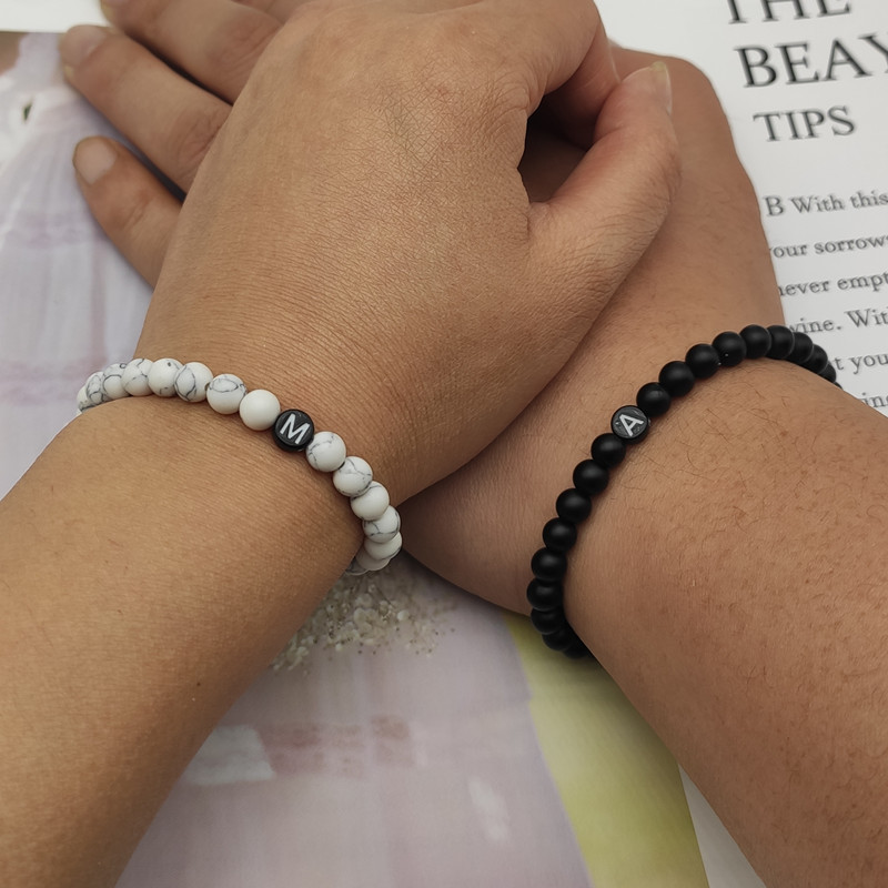 Fashion Couple Bracelets Natural Stones Beaded Bracelet for Men and Women A-Z 26 Letters Bracelet 6MM Matte Black Onyx Handmade