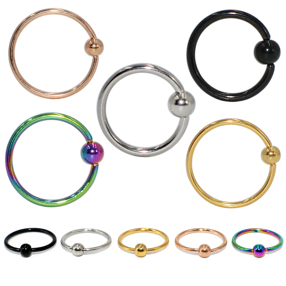 5pcs/lot Mixed Color Surgical Steel Captive Bead Ring Ear Hoop Nose Ring Hoop Ear Tragus Cartilage Piercing Body Jewelry Earring