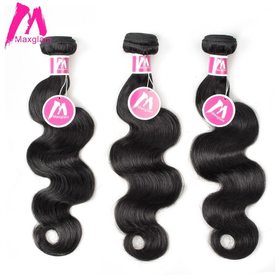 8-30 Inch Maxglam Indian Human Hair Bundles Body Wave Hair Weave Bundles Extension Remy Hair Free Shipping