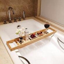 Extensão de bambu antiderrapante banheiro multi função banheira prateleira do toalete spa banheira prateleira bandeja banheira acessórios