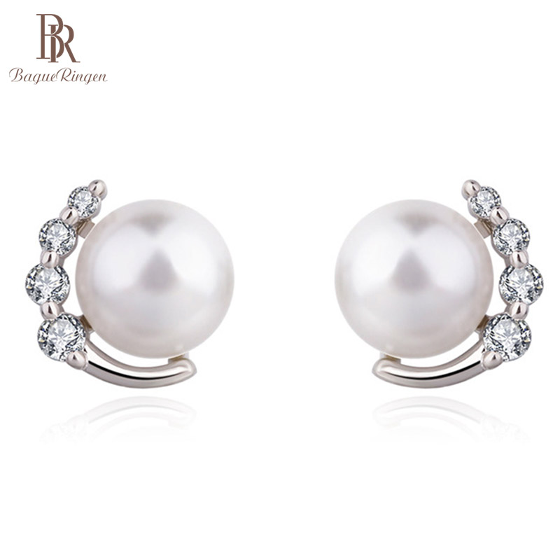 Bague Ringen Temperament Pearl Earrings for Women Minimalist Fashionable Silver 925 Fine Jewelry Female Weddings Ear Studs GIFT
