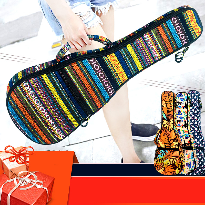21/23/26 Inch Ukulele Backpack Plus Cotton Shoulder Guitar Bag Ukulele Thick Ethnic-Style Piano Sets