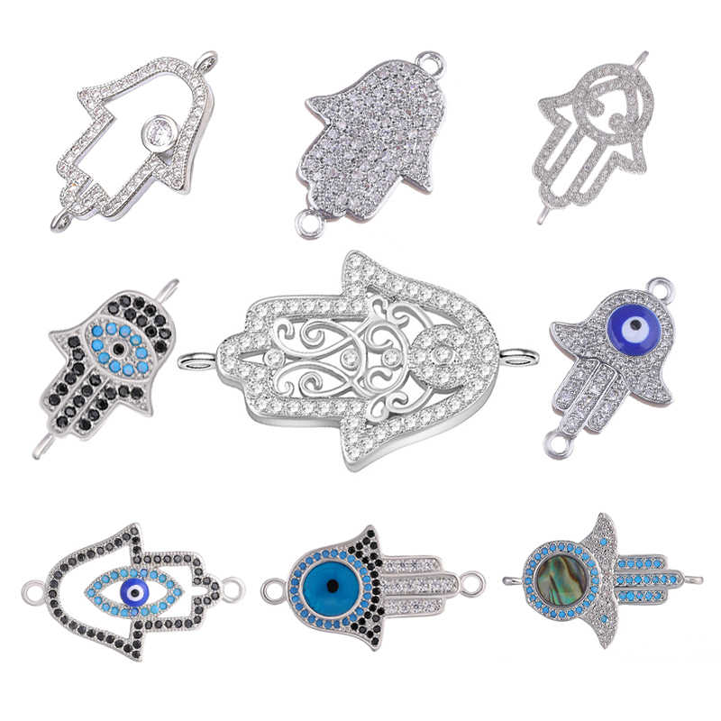 Juya Handmade Jewelry Fittings Micro Pave Zircon Hamsa Hand Of Fatima Greek Eye Charm Connectors For Bracelets Necklace Making