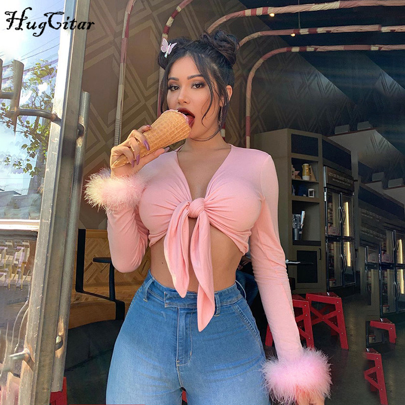 Hugcitar 2019 long sleeve fur V neck wrapped bandage sexy crop tops autumn winter women streetwear club party outfits T shirts|T-Shirts| - AliExpress