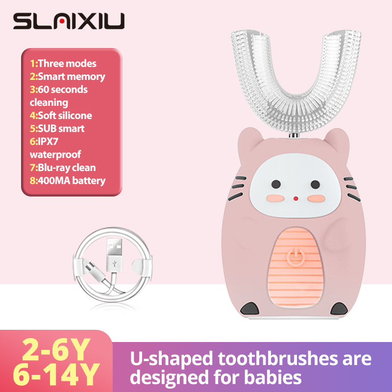 Smart 360 Degrees Kids Electric Toothbrush Silicon Automatic Ultrasonic Teeth Tooth Brush Cartoon Pattern Children NO BPA