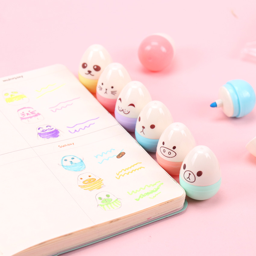 6 PCS Cute Egg Highlighter Classroom Family Color Fluorescent Pen Graffiti Highlighter Korean Stationery Supplies