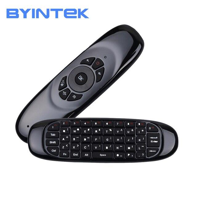 BYINTEK ratón inalámbrico air, teclado para juegos recargable, 2,4 GHz, mando a distancia inteligente Universal para Android, proyector y Pc