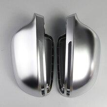 กระจกรถสำหรับAudi B8 A3 A4 A5 A6 S4 RS4 S6 RS6 1 คู่Matte Chromeกระจกมองหลังกระจกฝาครอบหมวกป้องกันรถจัดแต่งทรงผม