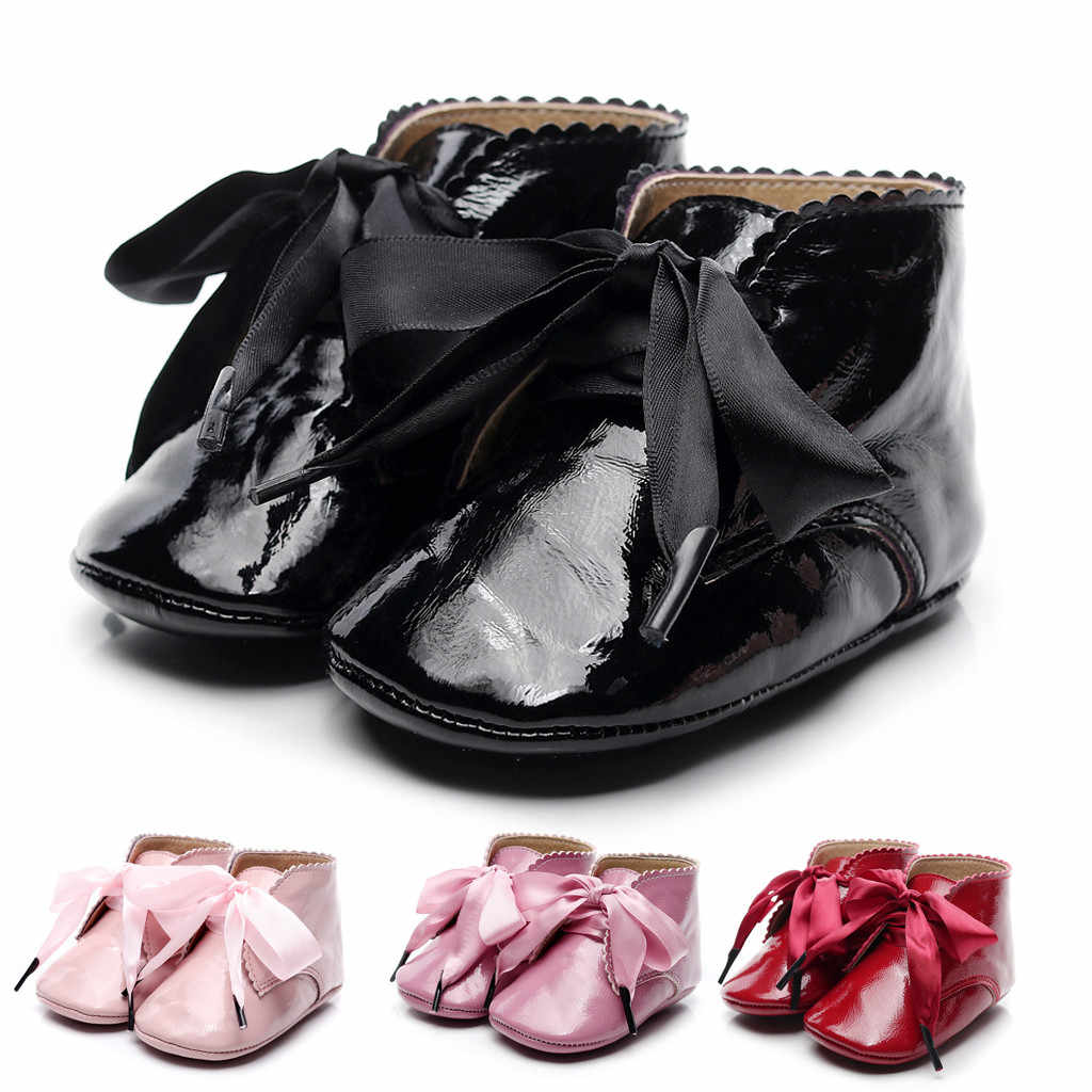 Baby Boots Infant Newborn Girls Boys Cartoon Shoes First Walkers Shoes short Booties party Lace-up soft Bowknot baby shoes