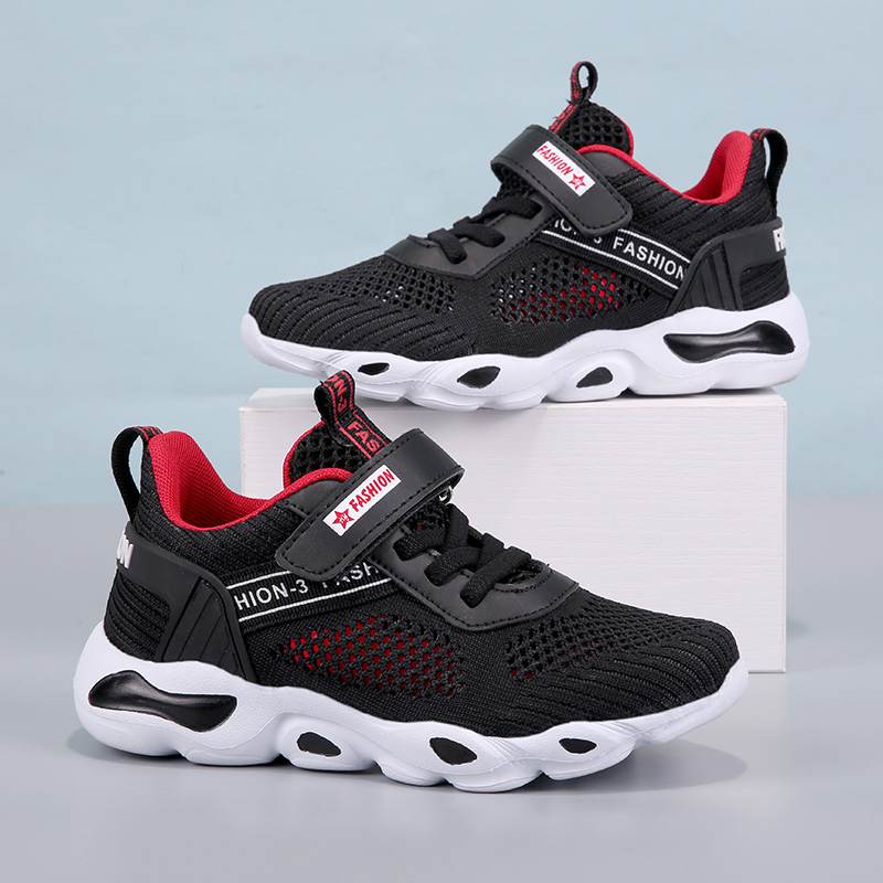 2019 Boys Running Shoes Super Light Sole Breathable Boys Sneakers Black Red Sports Air Mesh School Trainers Size 28-39