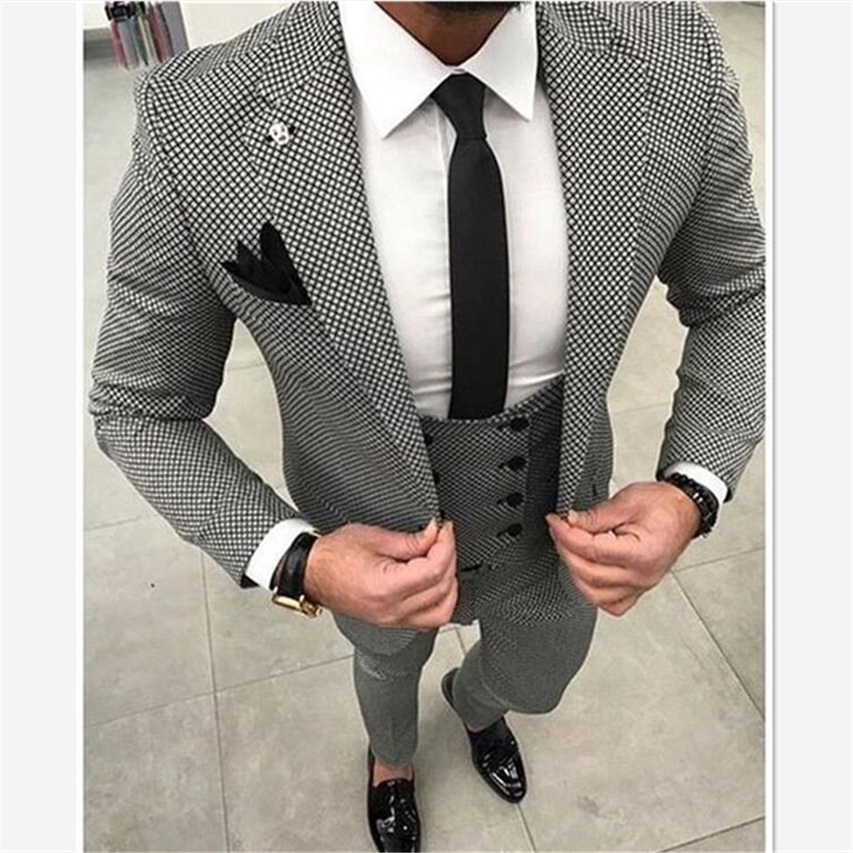 New Custom Made Men Checkered Suit Dresses Tailored Black Weave Hounds Tooth Check Wedding Mens Suits 3 Pcs Jacket+pants+vest