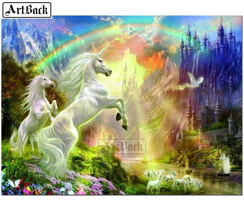 5D Special Drill Rainbow Unicorn Diamond Painting Embroidery Scenery Art DIY Kit