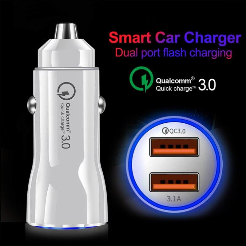Автомобильное мини-зарядное устройство URVNS с 2 портами для iPhone x, Samsung s10, Xiaomi mi 9, быстрая зарядка 3,1 А, USB QC3.0, автомобильный адаптер, зарядное ус...