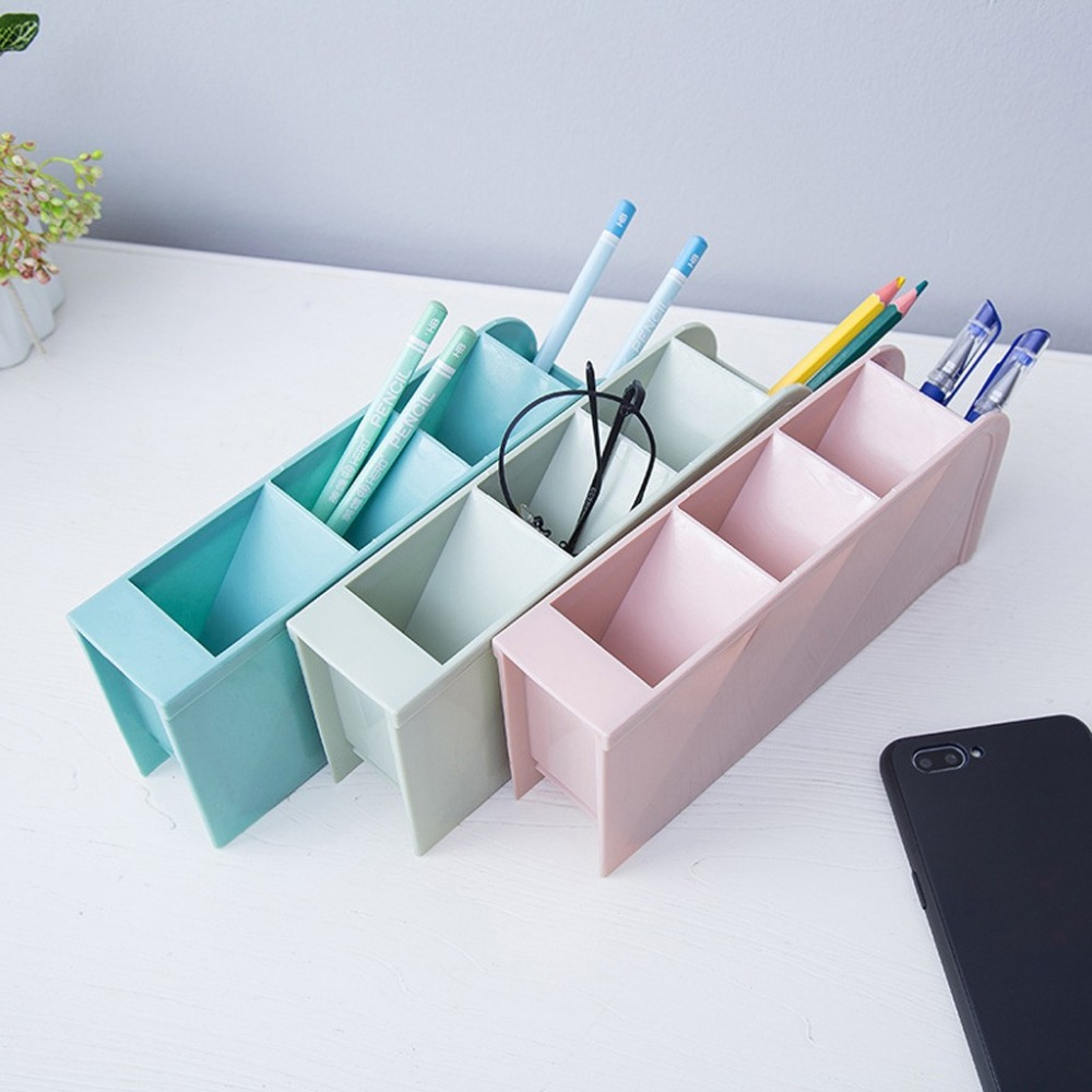 Creative four-grid storage rack can stand office stationery desktop storage box drawer finishing grid oblique insert pen 30O14 (12)