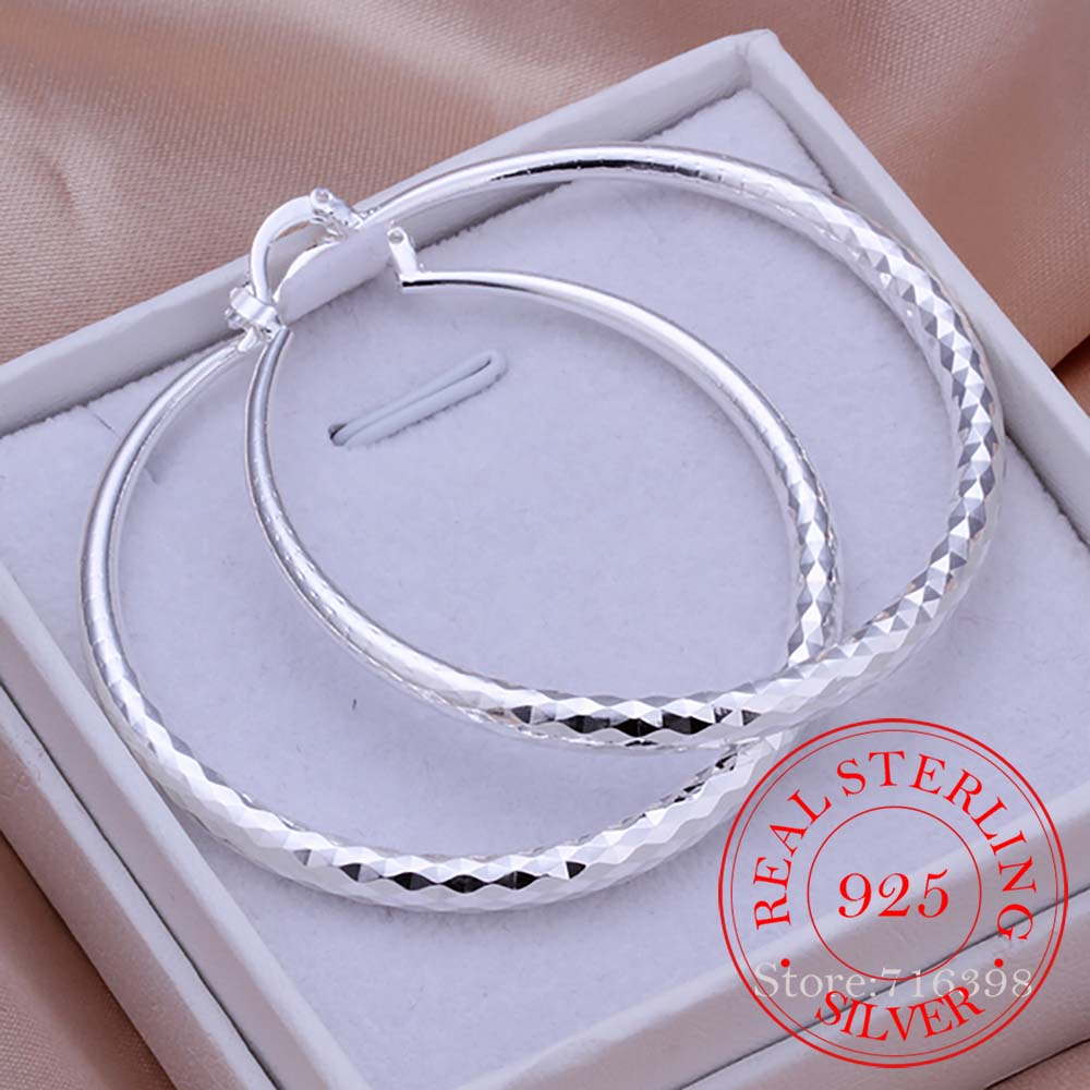 925 Sterling Silver Hip Hop Round Earrings for Women Large Circle 5.1cm Piercing Hoop Earring Dropship Suppliers